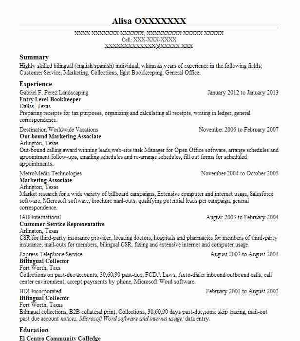 entry level bookkeeper resume sample