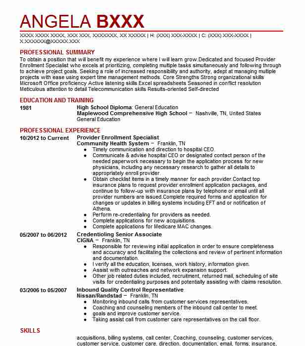 30 resumes matching healthcare management resume samples in antioch tennessee provider enrollment specialist - Provider Enrollment Specialist Sample Resume