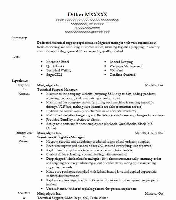 technical support manager resume sample