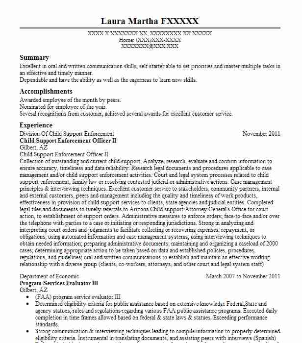 child support enforcement officer resume example