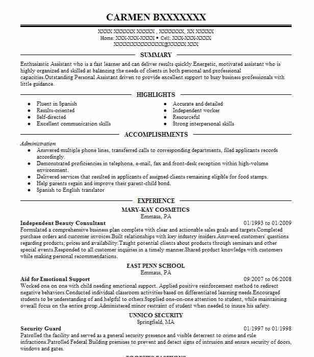 independent beauty consultant resume example mary kay