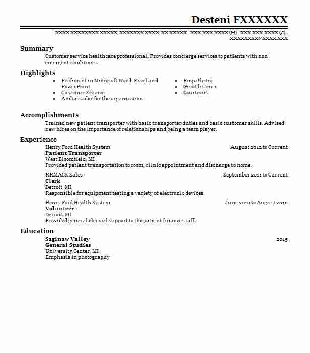 Patient Transporter Resume Example (Henry Ford Health System) - West ...