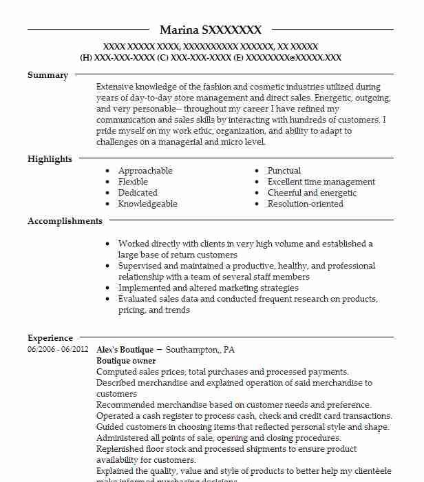 online boutique owner resume example jenni leigh boutique