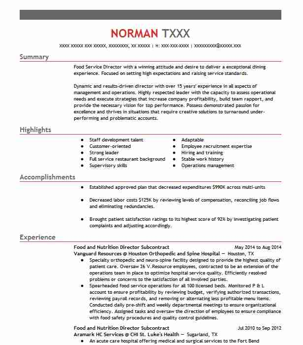 director of food and nutrition cdm  chef resume example