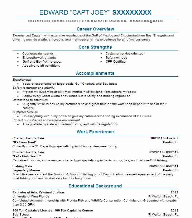 Charter Boat Captain Resume Example It S Been Reel