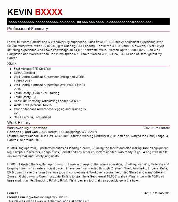 workover rig supervisor resume example spn well services