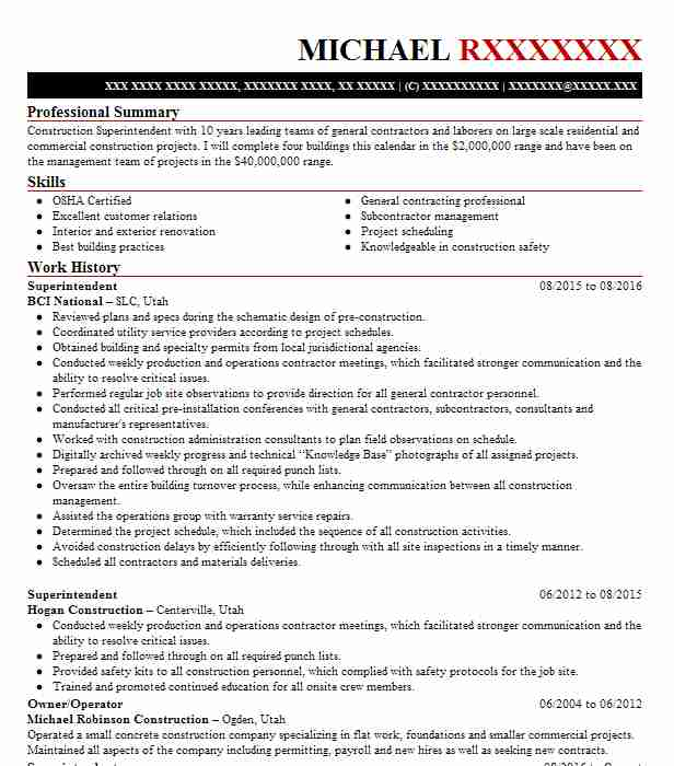 2 Construction Management Resume Examples | Manufacturing And ...