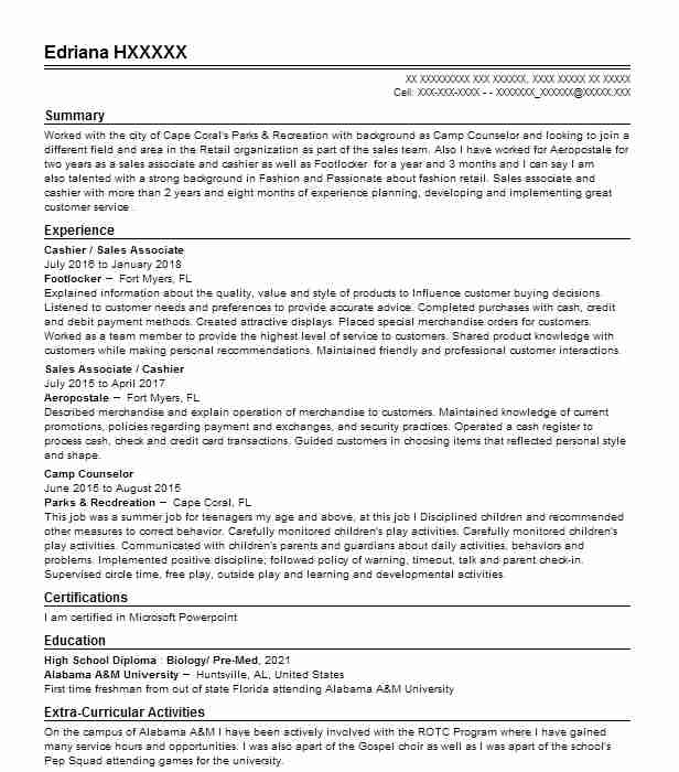 Summer Camp Counselor Resume Sample | Counselor Resumes | LiveCareer