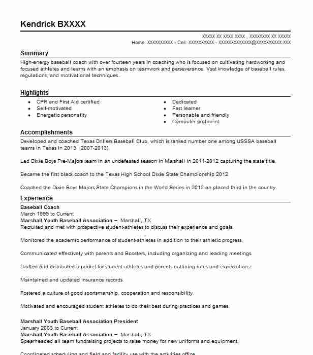Baseball Coach Resume Sample Coach Resumes Livecareer