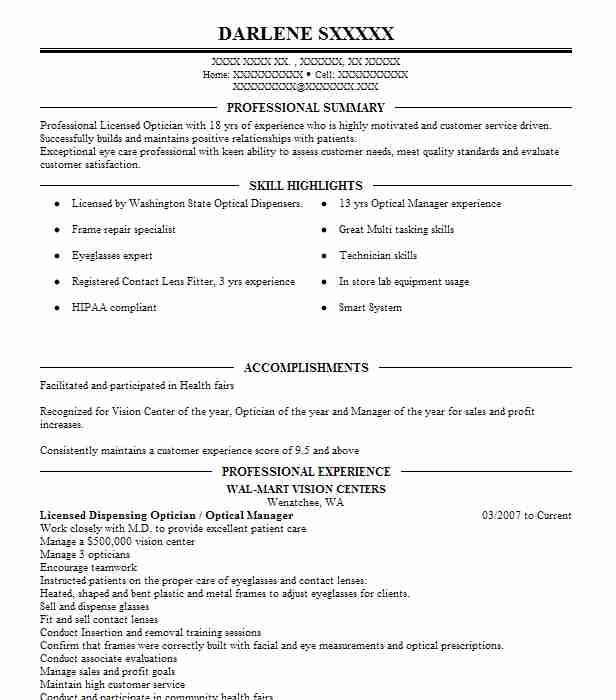 Licensed Dispensing Optician Optical Manager Resume Example Wal