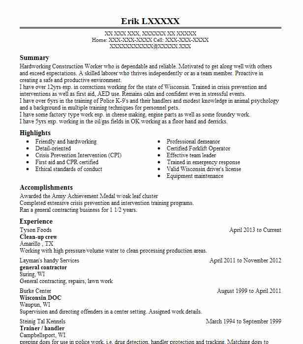 11 construction resume examples in canyon tx livecareer clean up crew tyson foods canyontexas malvernweather Images