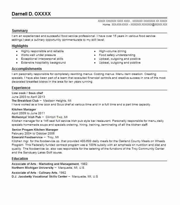 lead line cook to sous chef resume example dilworthtown