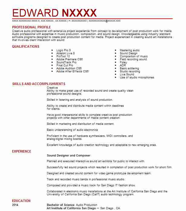Audio Engineer / Sound Designer Resume Example Doppler