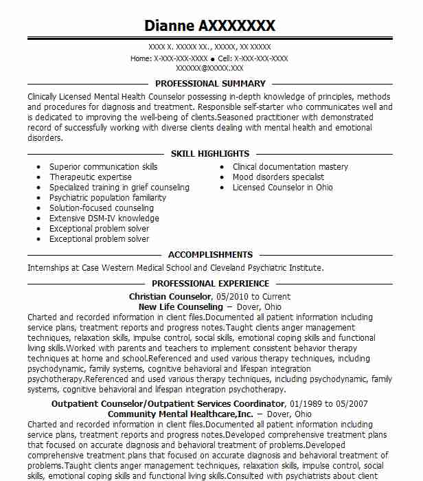 christian counselor resume sample