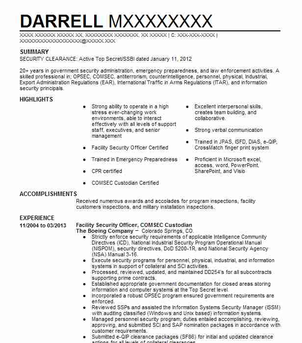 Facility Security Officer, COMSEC Custodian Resume Example ...