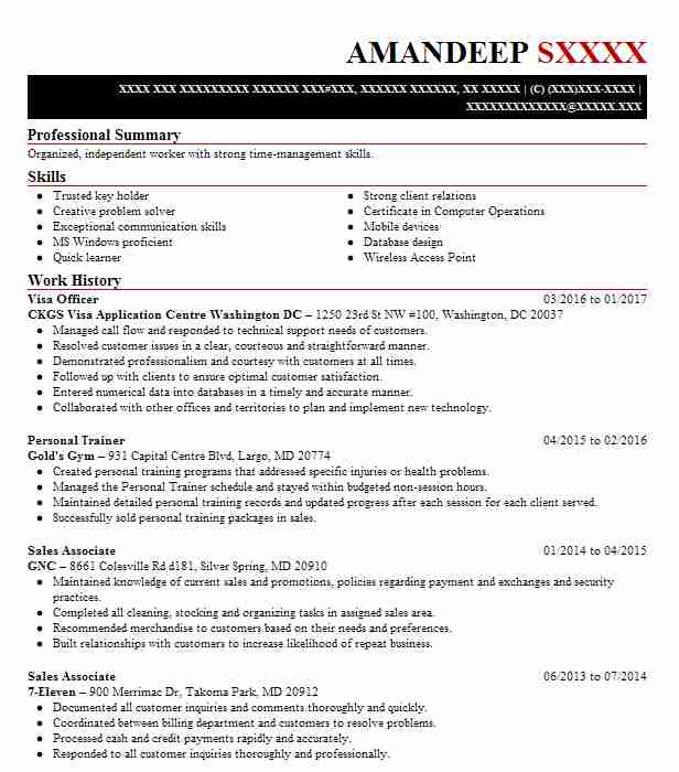 Visa Officer Resume Sample Officer Resumes Livecareer
