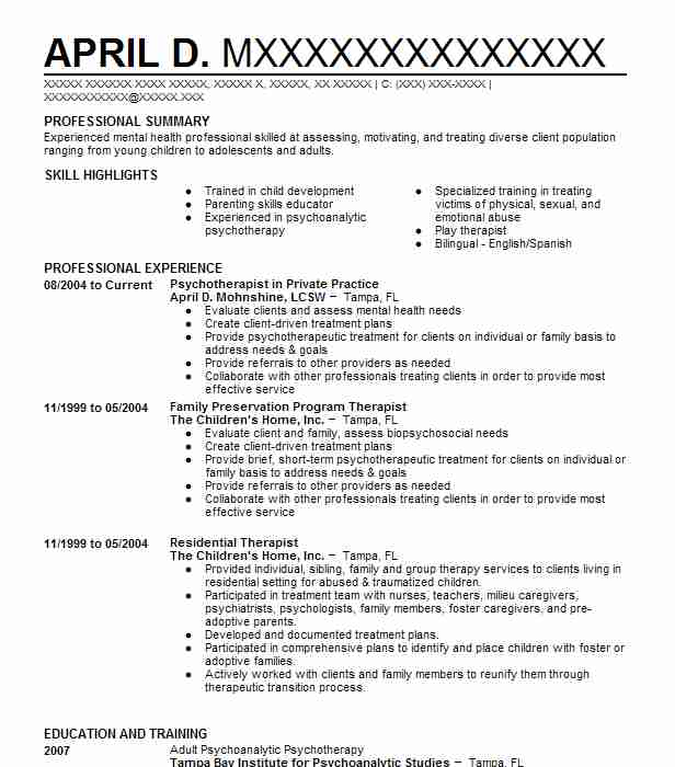 Lcsw Psychotherapist Resume Example Private Practice