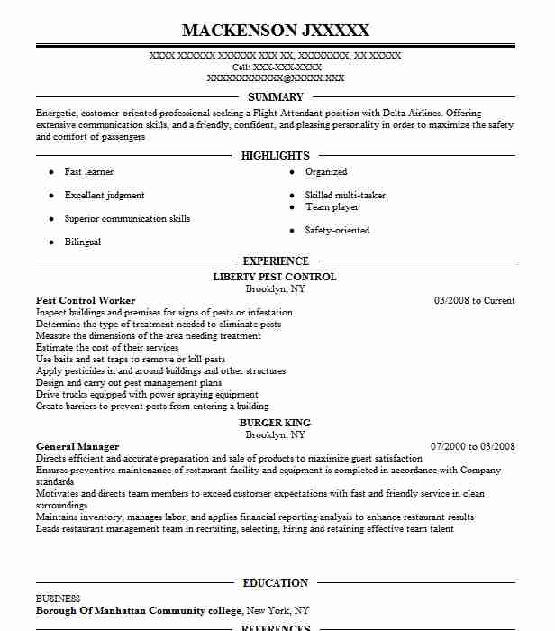 pest control worker resume sample