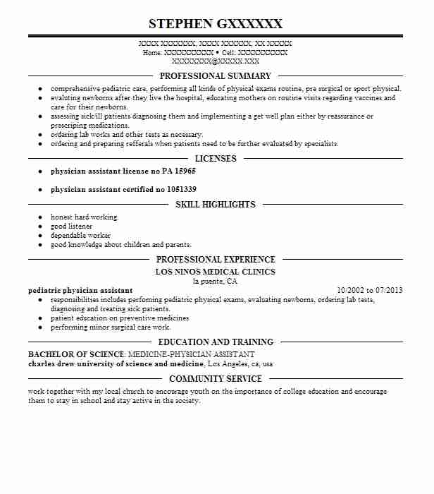 pediatric physician assistant resume example johns hopkins