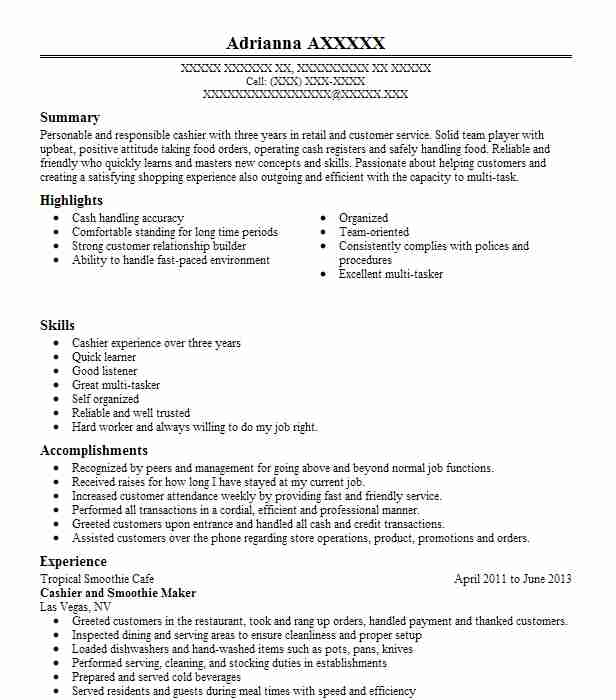smoothie maker  cashier resume example booster juice