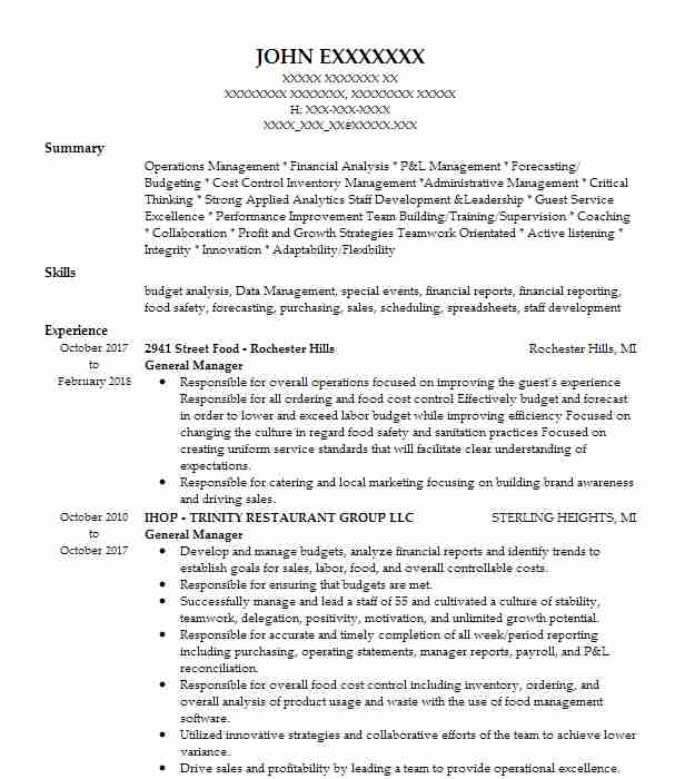 Create My Resume  Resume For Food Server
