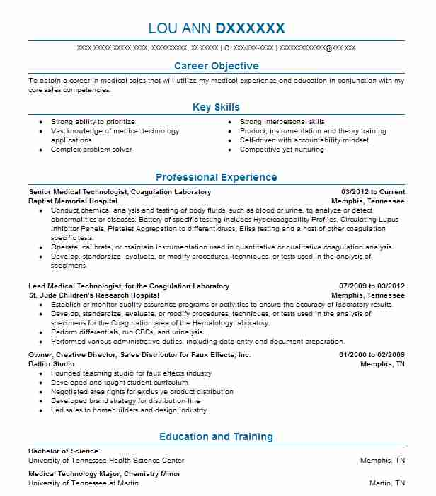 medical laboratory technologist ascp resume example
