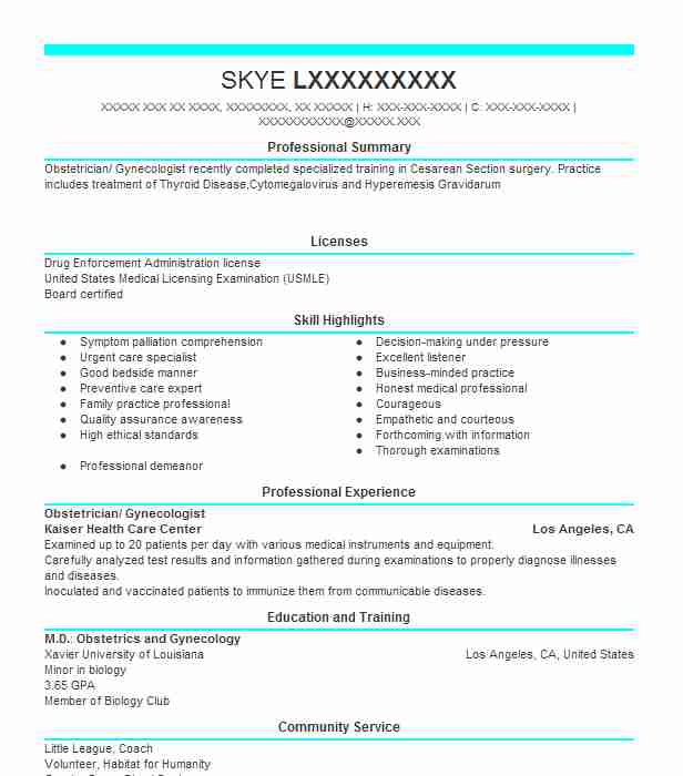 gynecologist  obstetrician resume example asante physician