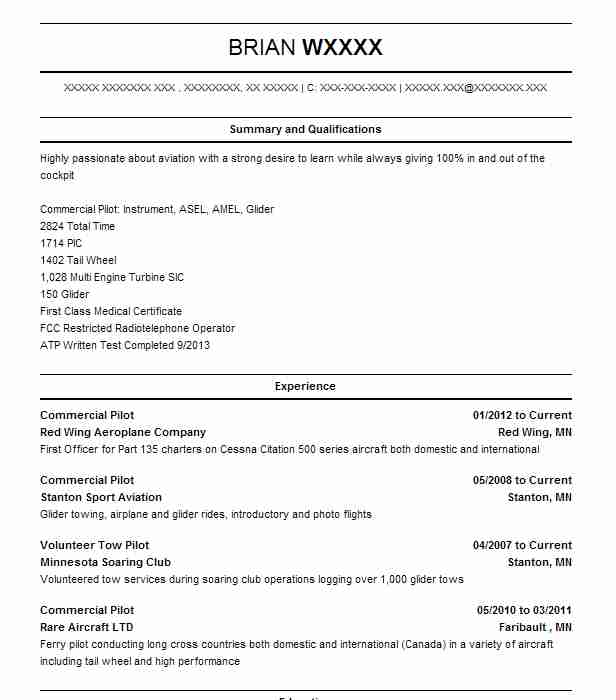 Commercial Pilot Resume Example Red Wing Aeroplane Company