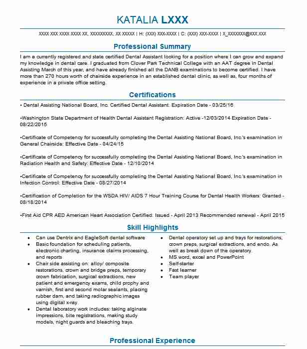 Best Dental Assistant Resume Example