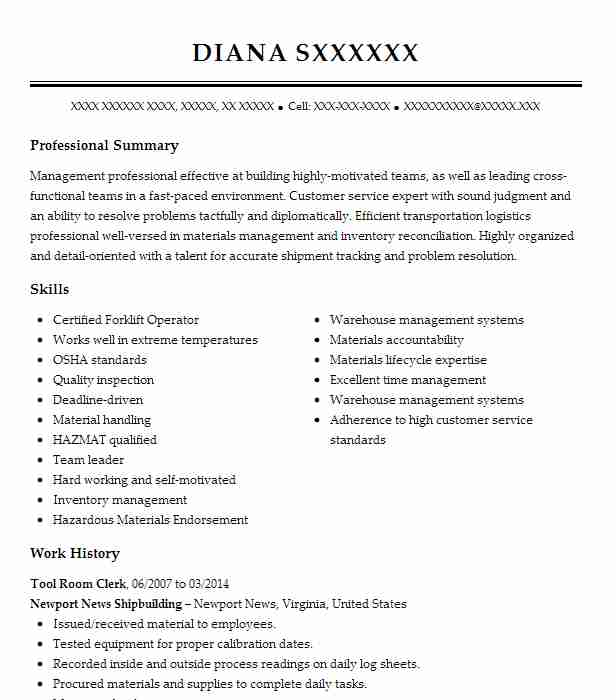 Tool Room Clerk Resume Example (Newport News Shipbuilding) - Hayes ...