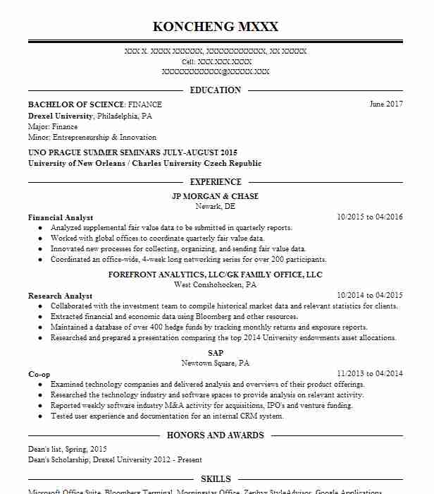 best financial analyst resume example