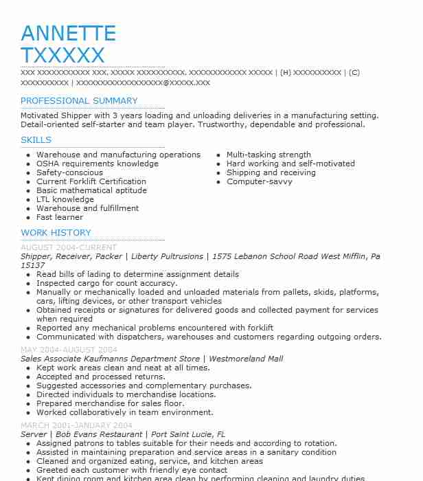 packer  shipper  mover resume example