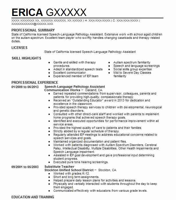 speech language pathology assistant  slpa  resume example