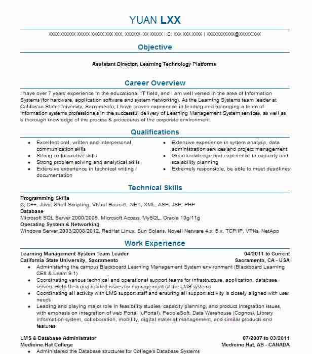 Learning Management System Team Leader Resume Example ...