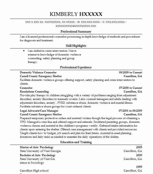 domestic violence counselor resume sample
