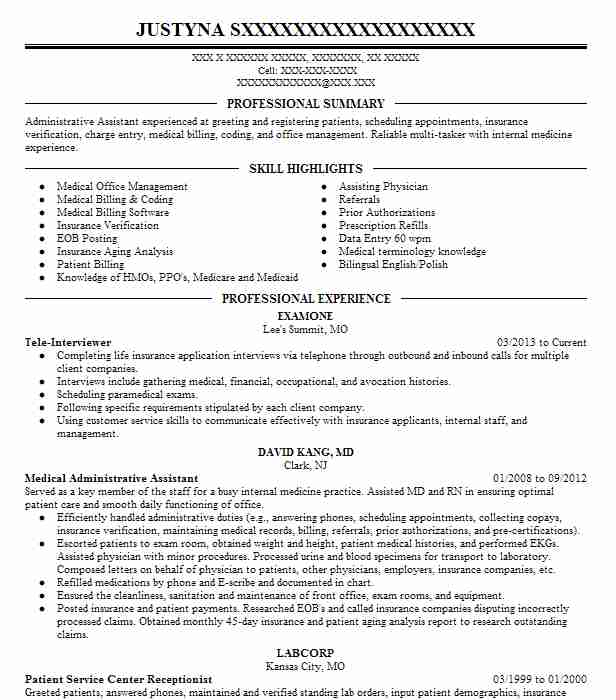 4 medical assistance and support resume examples in raymore mo - Tele Interviewer Resume