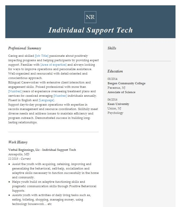 individual support worker resume example pineland bhdd