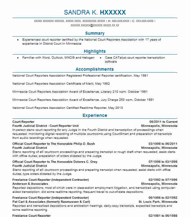 Court Reporter Resume Example Fourth Judicial District Court