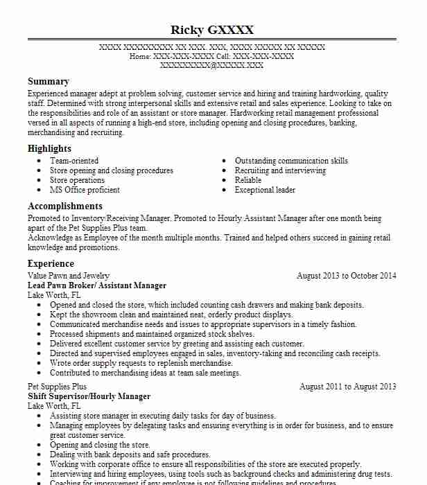 pawn shop manager resume example pawn city