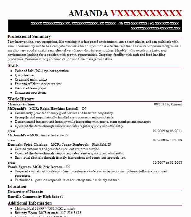 manager trainee resume sample