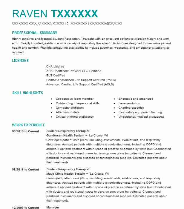 sample respiratory therapy resume