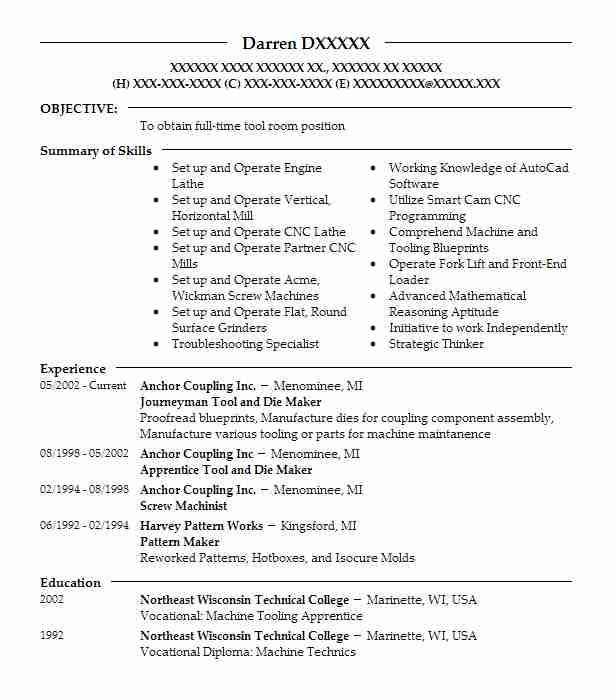 1 resumes matching manufacturing and production resume samples in dunbar wisconsin journeyman tool and die maker - Tool And Die Maker Resume