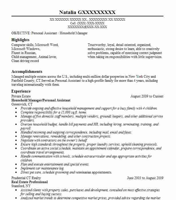 2 resumes matching personal assistants resume samples in stamford connecticut - Real Estate Personal Assistant Sample Resume