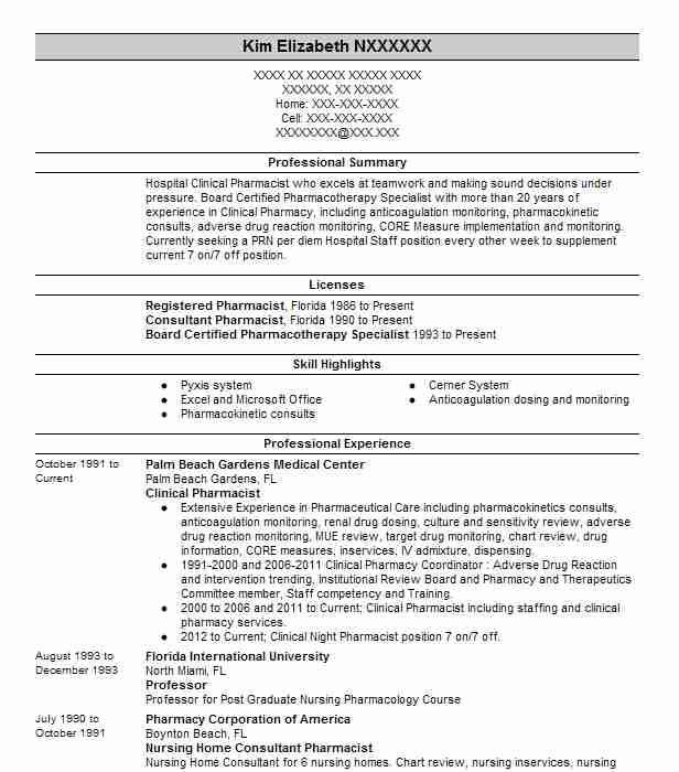 clinical iv pharmacist resume example critical care