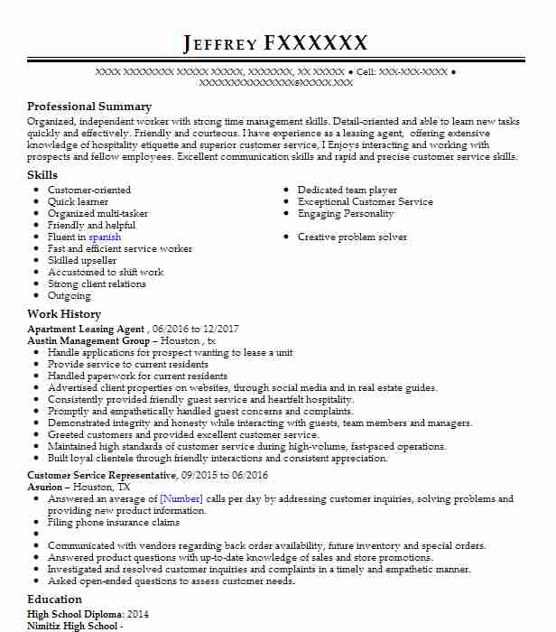 Apartment Leasing Agent Resume Example Agent Resumes Livecareer