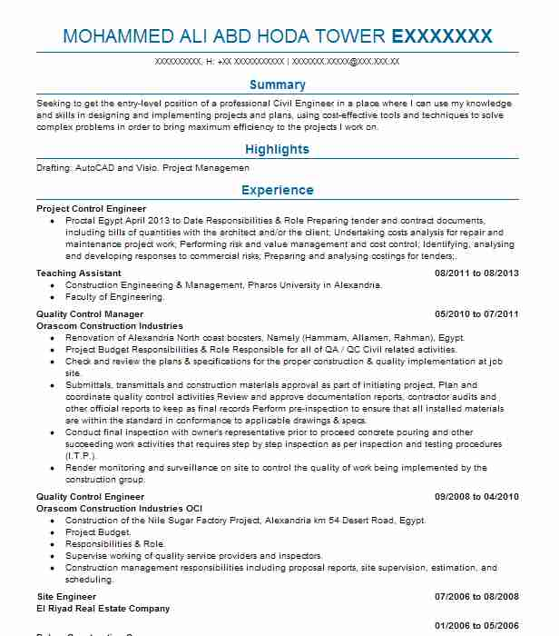 project control engineer resume sample