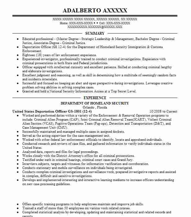 United States Deportation Officer GS 1801 (12 4)  Criminal Justice Resume Examples