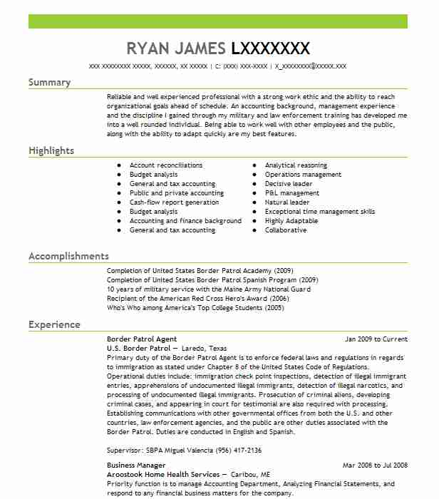 border patrol agent resume sample