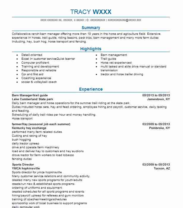17 Ranch (Natural Resources And Agriculture) Resume Examples in ...