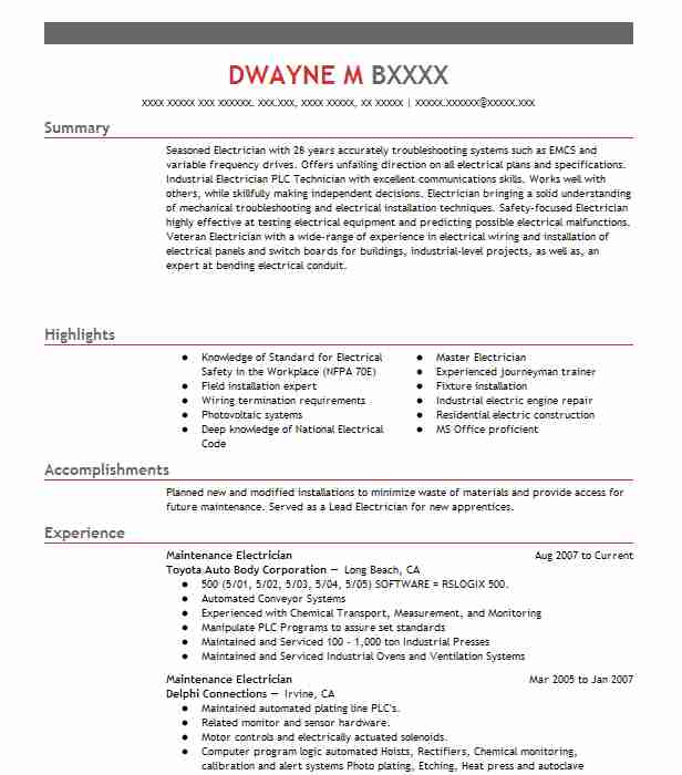 maintenance electrician resume sample